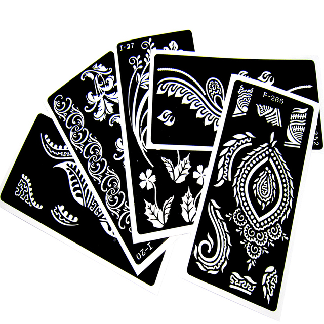 20pcs/lot Henna Tattoo Stencils For Body Painting, Mehndi Indian Template Flower Hand Henna Glitter Airbrush Tattoo Stencil