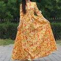 2017 mulheres praia print dress maxi vestidos de algodão 3/4 de manga comprida o-pescoço casual sexy party dress