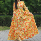 Cheap 2017 women beach print dress cotton maxi dresses 3/4 sleeve o-neck sexy casual party dress