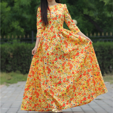 2017 women beach print dress cotton maxi dresses 3/4 sleeve o-neck sexy casual party dress