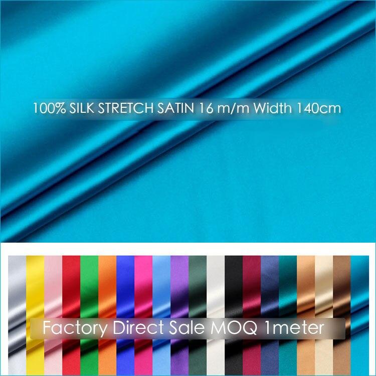 SILK STRETCH SATIN 140cm width 16momme Pure Silk Fabric Spandex Stretch Fabric Wedding Dress Natural Silk
