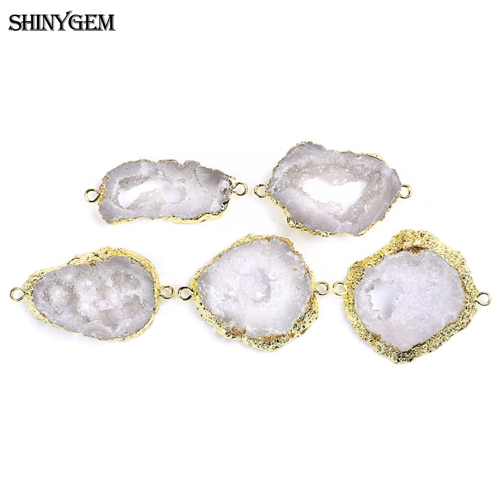 Brown White Real Geode Slice Druzy Gold Plated DIY Necklace Bracelets Connectors
