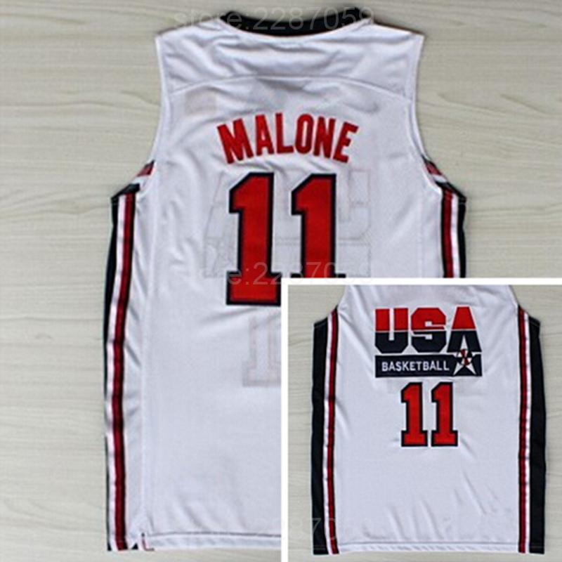 Ediwallen American 11 Karl Malone Jersey Dream Team One 1992 USA Basketball Jerseys Malo ...