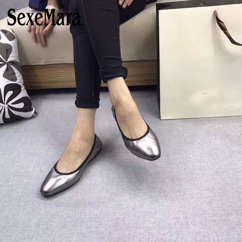 SexeMara Luxury design Women's Ballerina Shoes Comfortable Genuine Leather Pointed Toe Foldable Ballet Flats Portable Women Shoe