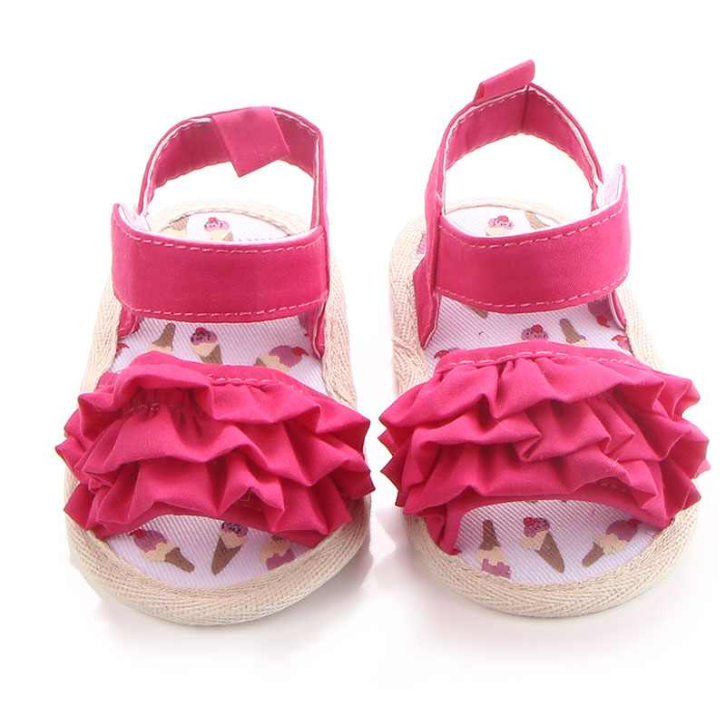 Fashion Flower Baby Sandals Canvas Hook Loop Princess Baby Shoes Soft Sole Open Toe Summer Newborn Girl Sandals Wholesale in Sandals Clogs from Mother Kids