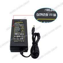1pcs/lot AU/US/EU plug LED Power Dirver DC5V 8A power Adapter 40W 100-240V Power Supply for led strip 5050 3528 5630(China)