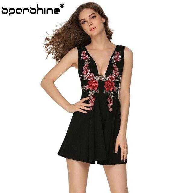 136473484e6 Black white Sexy Dress 2018 New Arrival Rose Embroidery Vintage deep V- Neck  A-
