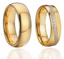 Gold Color Alliance Promise Wedding Band Couple Ring for women and men jewelry rings pair set aneis Anel Bague anillos