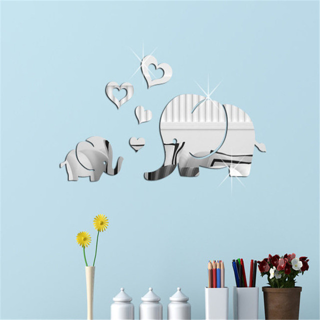 creative cute lovely elephant mirror wall sticker for kids rooms