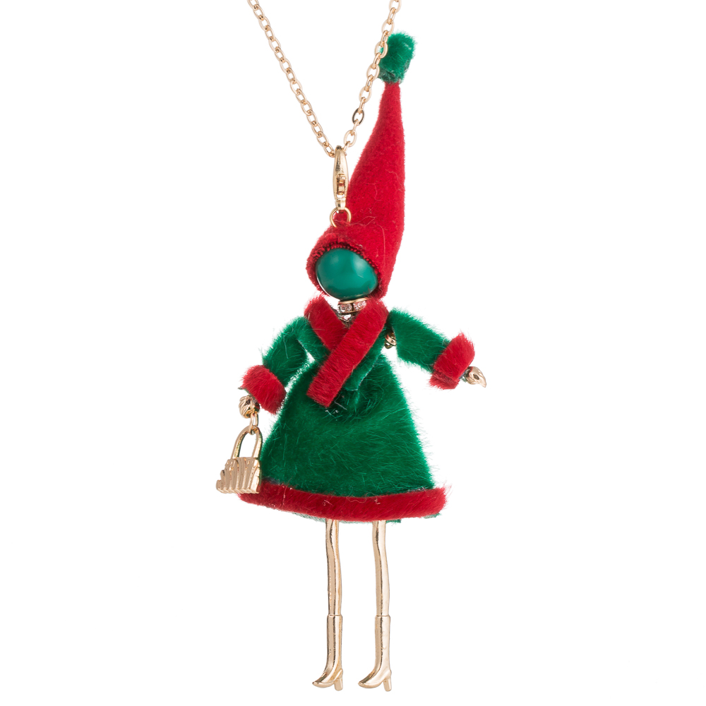 HOCOLE Christmas Gifts Cute Yarn Cloth Bowknot Dress Doll Necklace white Santa Claus Hat ...
