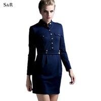 European Army Fashion Women Dress Bodycon Single Breasted Long Sleeve Deep Blue Vestidos Size S