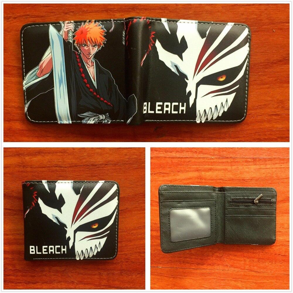 Bleach Ichgo Mask Anime Cosplay Students Men Short Leather Wallet Credit Card Holder Bifold Purse W746 japan anime pokemon eevee pikachu wallet anime cosplay men women bifold purse