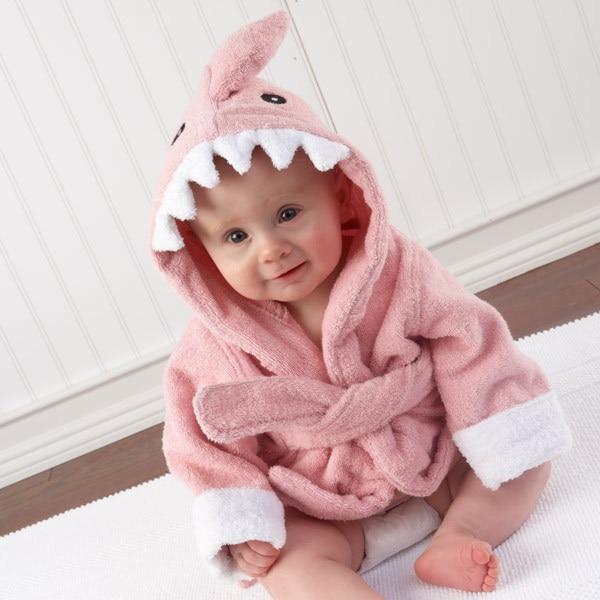 Розничная ; 16 дизайнов; детское банное полотенце с капюшоном; купальный халат с изображениями животных; детские пижамы с героями мультфильмов - Цвет: pink shark