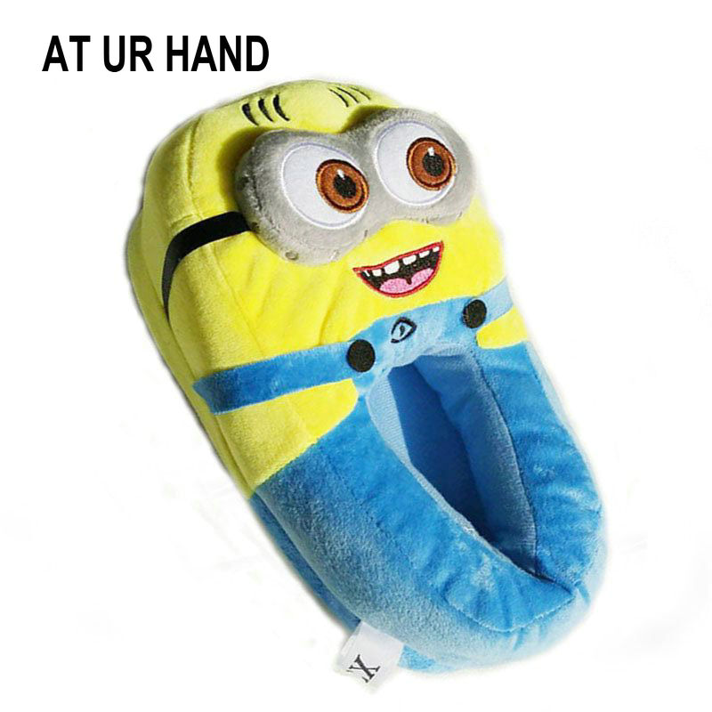 AT UR HAND Minions Indoor Slippers Plush Stuffed Funny Slippers Flock Cosplay House Shoes Adult Winter Home Slipper tales of xillia elise lutus teepo plushie handmade stuffed plush toy cosplay props 45cm
