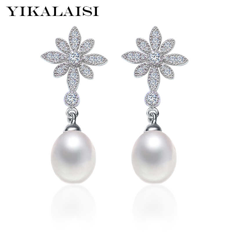 YIKALAISI 925 Sterling Silver Natural Freshwater Pearl Long Petal Earrings Fine Jewelry For Women 8-9mm 4 Colour