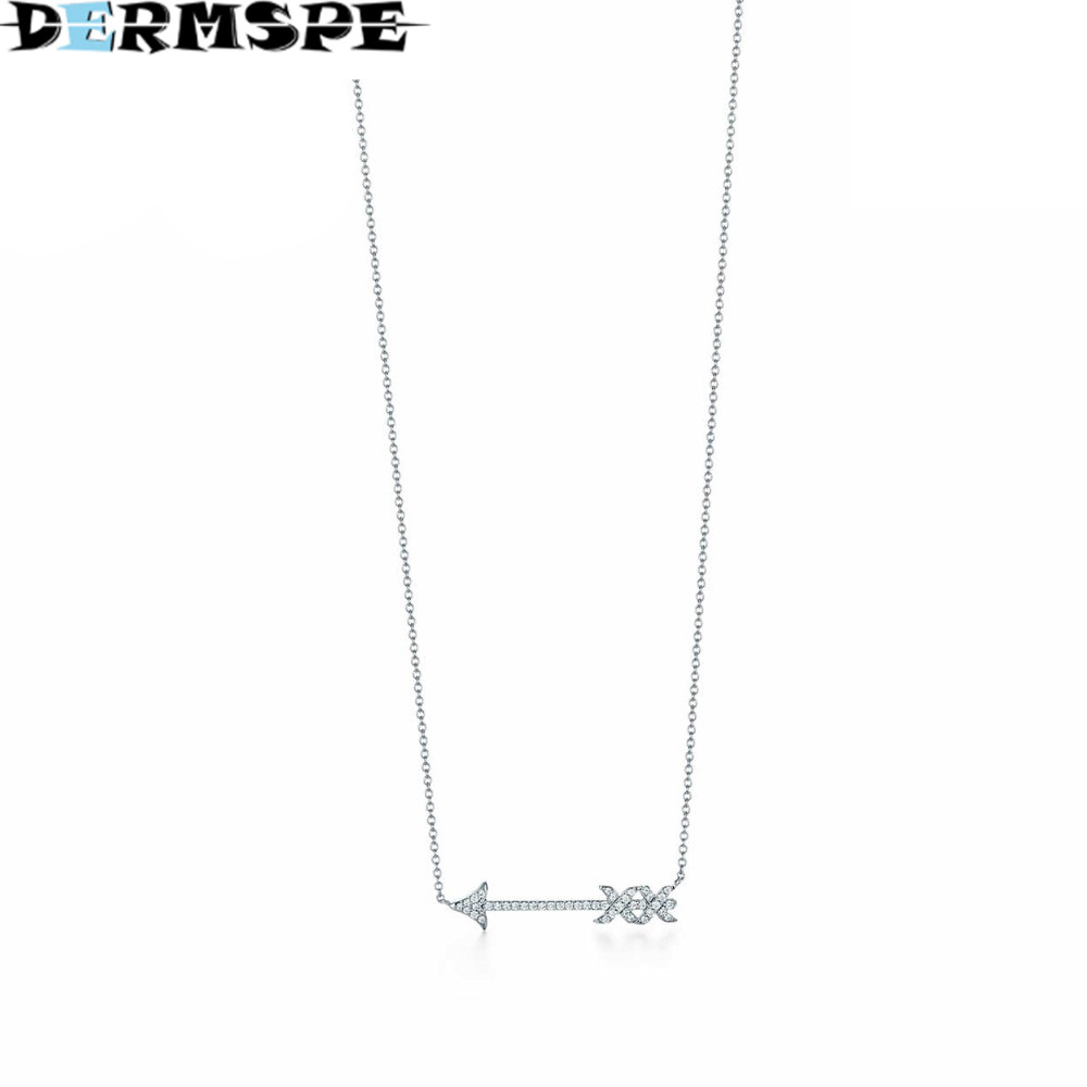 DERMSPE Fashion And Simplicity Anarrow Pendant necklace TIFF 925 Sterling Silver Pendant Nature Fashion Jewelry Package Mail цены