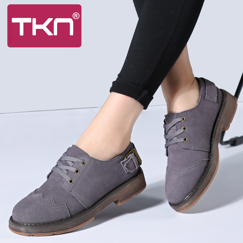 TKN 2019 Spring Women Oxfords Shoes Female   Leather     Suede   Lace up Flats Oxford Shoes for Women Middle Heel Creeper Mocassin 989