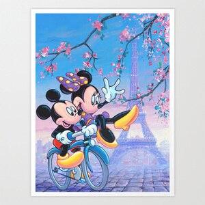 SepYue Disney Torre Mouse 5d Pintura Diamante Broca Praça Cheia Pintura Diy com Diamantes Bordados Ponto Cruz Diamante Mosaico
