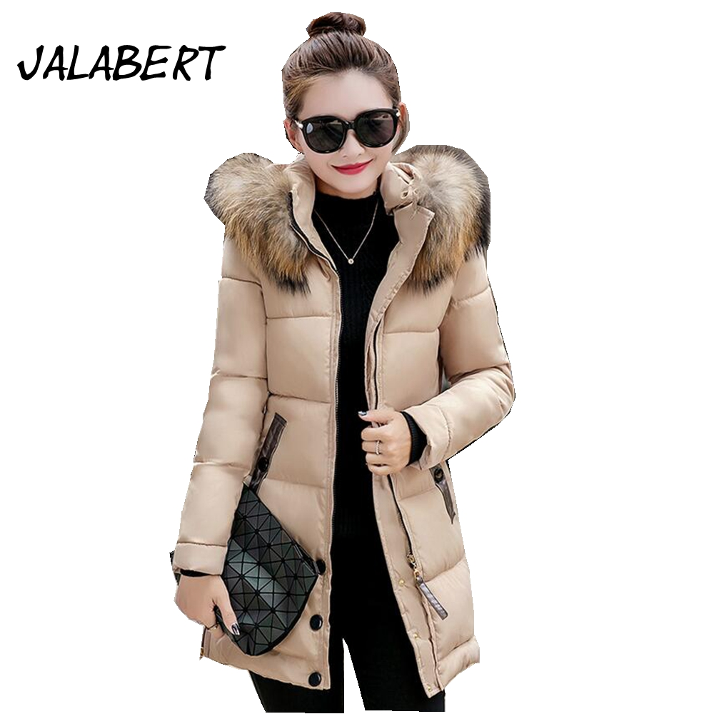 2017 New women winter long big Fur collar slim hooded thick long-sleeved full cotton jacket female button warm parkas coat women winter coat leisure big yards hooded fur collar jacket thick warm cotton parkas new style female students overcoat ok238