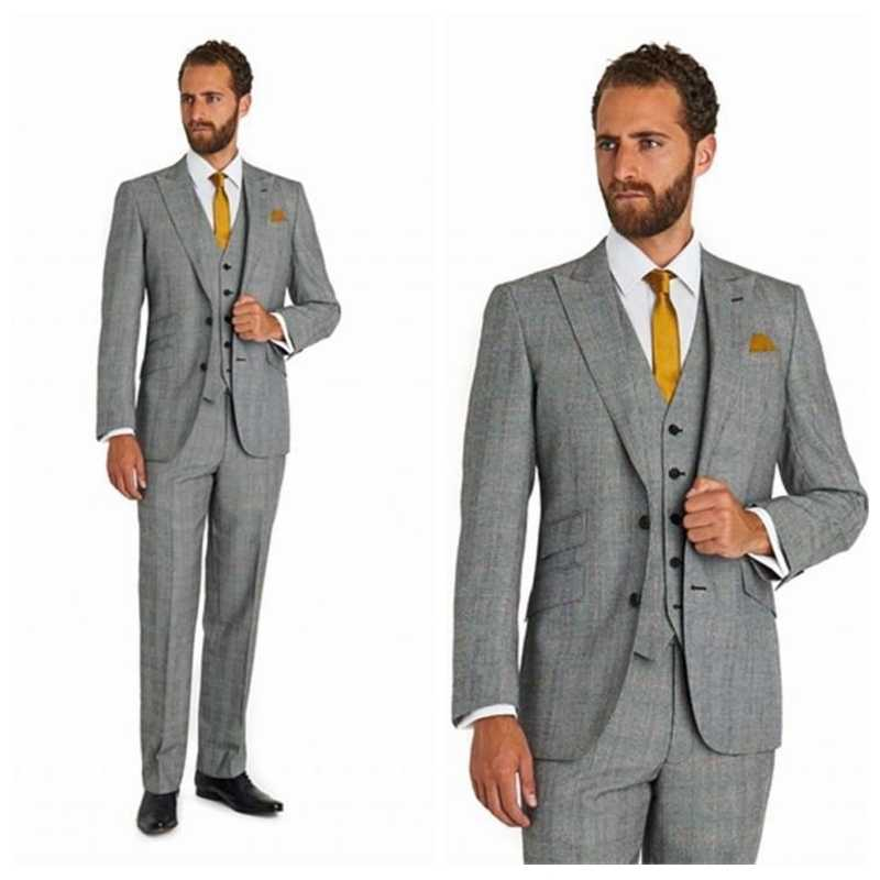 b95262cdc22 Light Grey Formal Wedding Groom Tuxedos Tailor-Made Custom Mens Party Suits  3 Piece Casual