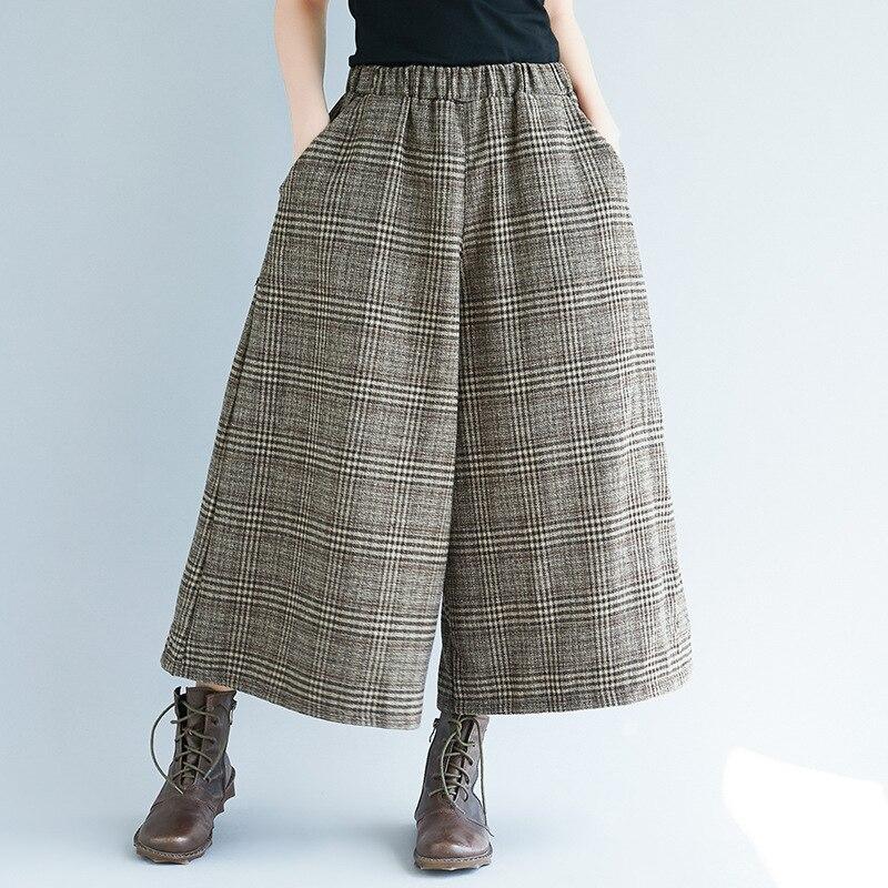 Johnature perna larga solta xadrez calças femininas cintura elástica bezerro-comprimento 2020 novo escritório casual senhora calças femininas
