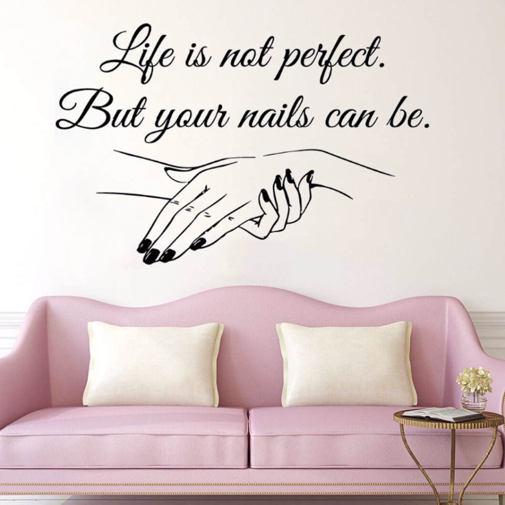YOYOYU Nail Salon Removeable Art Vinyl Wall Sticker Manicure Quote Salon Bedroom Window  ...