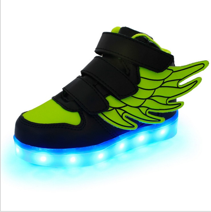 Spring 2017 new fashion wings shine led kids shoes USB charging for boys and girls light