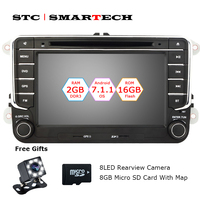 SMARTECH 2 Din Android 7 1 Car DVD GPS Navigation For VW Volkswagen Passat B6 Golf