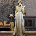 Cinto dourado Prom Vestidos Vestidos De Apliques de Renda 2016 Lace Manga Comprida Abaya Dubai Kaftan Marroquino Arábica Vestidos de Noite Muçulmanos