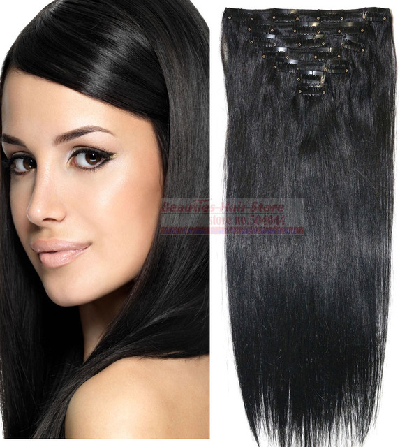 "16""-32"" 7pcs Set 100% Brazilian Remy Hair clips In/on Human Hair Extensions #1 Jet black 70g 80g 100g 120g 140g"