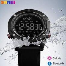 SKMEI Bluetooth inteligentny męski zegarek sportowy krokomierz kalorii zegar zdalny aparat cyfrowy wojskowy zegarki na rękę Reloj Inteligente