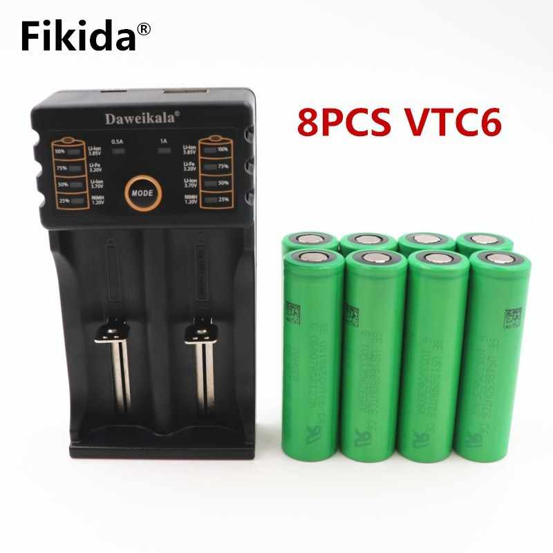 2018 original 3.7V 3000 MAH Li ion rechargeable 18650 battery vtc6 30A Electronic cigarette toys tools flashlight+Daa201 Charger