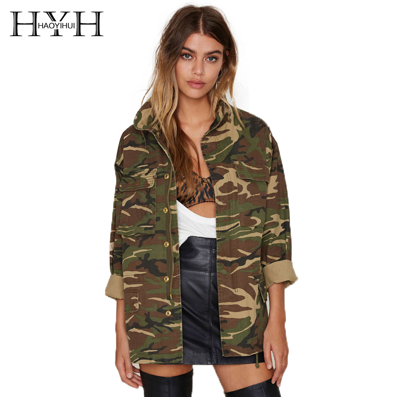 HYH HAOYIHUI Fashion Women Coats Camouflage Jackets Long Sleeve Pocket Zipper Outwear Female Casual Loose Basic Jacket Lady