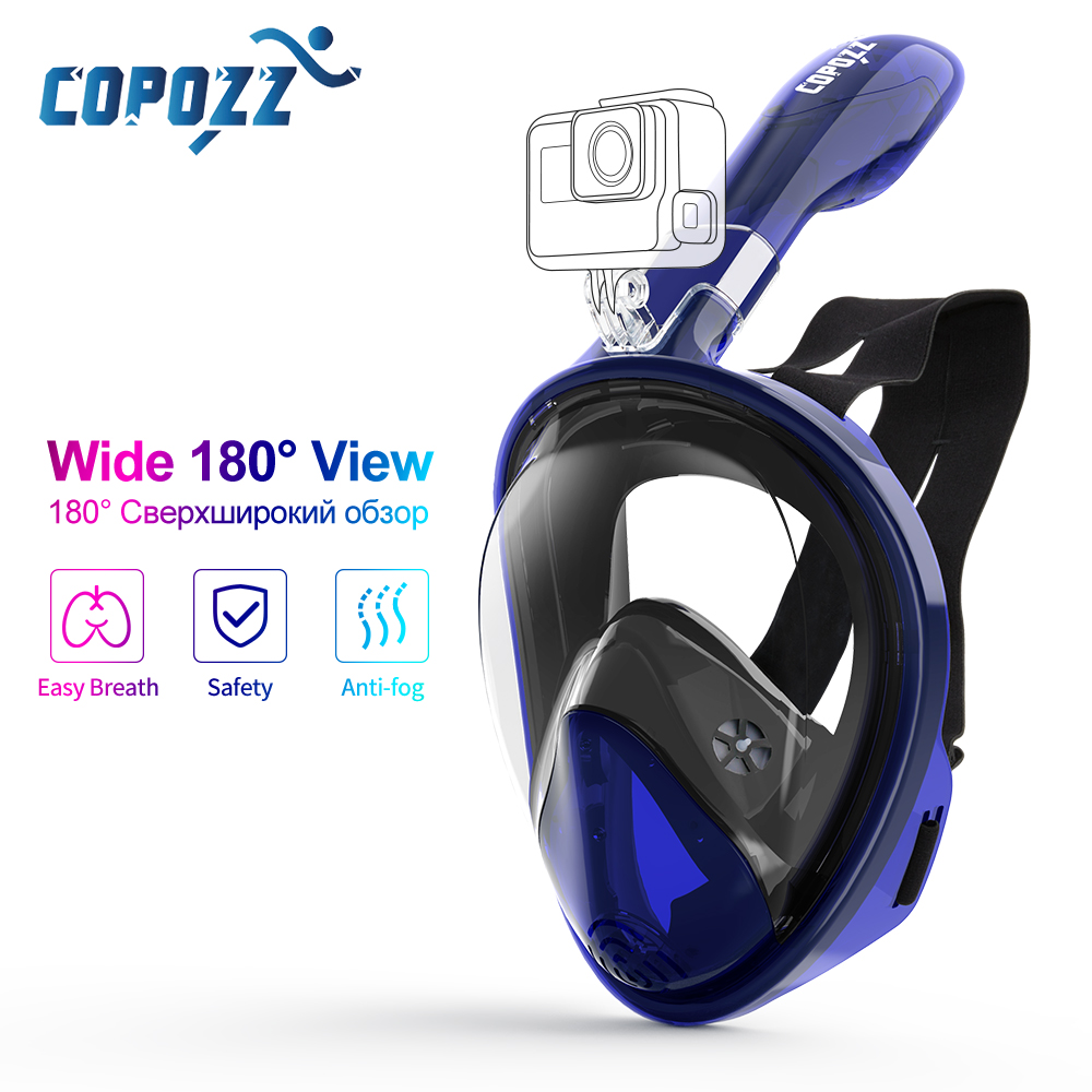 COPOZZ Scuba Diving Mask Full Face Anti Fog Underwater Snorkel Mask Set Swimming Mask For Gopro Camera Men Women Kids Children