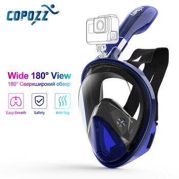 Copozz máscara de mergulho rosto cheio anti nevoeiro underwater snorkel conjunto máscara de natação para câmera gopro