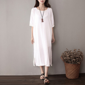 Womens Dresses Cotton and Linen Plus Size solid purple and red color Women summer Dress vintage dress short sleeve