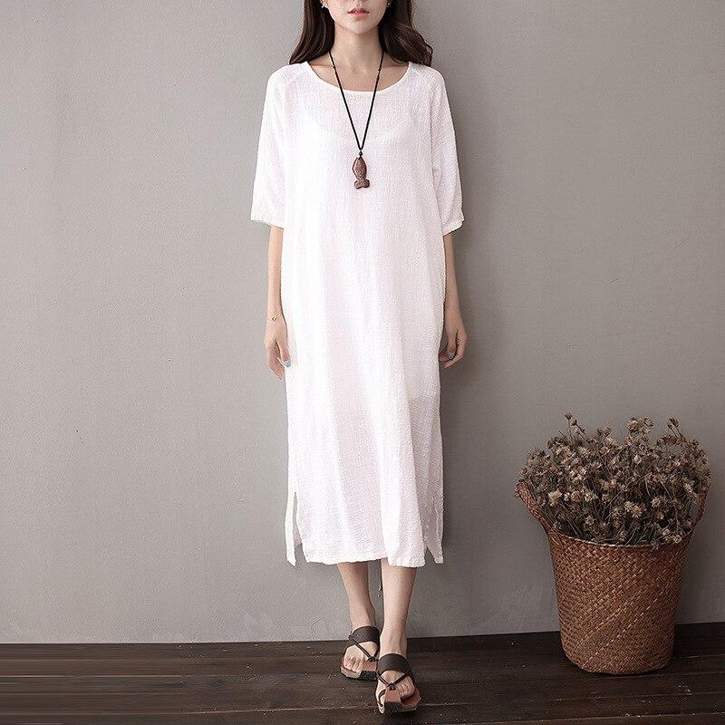 Dámské šaty Bavlna a prádlo Plus Velikost pevná fialová a červená barva Dámské letní šaty vintage šaty s krátkým rukávem