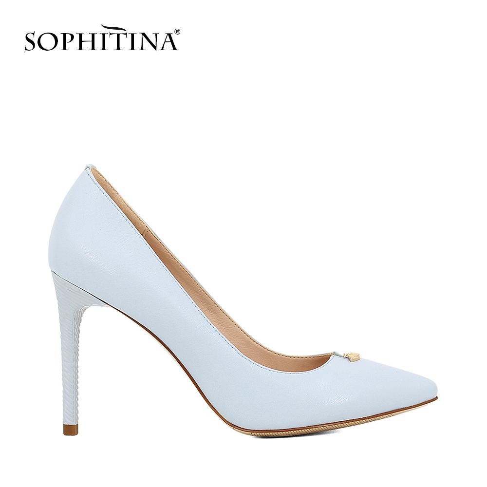 SOPHITINA Fashion Super High Thin Heels Pumps 2018 New Shallow Pointed Toe Genuine Leather Shoes Handmade Slip-On Lady Pumps D53 summer bling thin heels pumps pointed toe fashion sexy high heels boots 2016 new big size 41 42 43 pumps 20161217