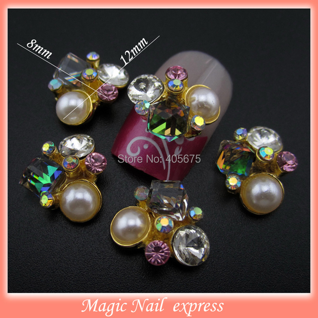 Mns382 New 3d Alloy Nail Designs Pearl Rhinestone Nail Art Charms