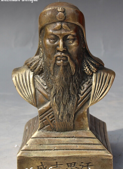 decoration brass factory outlets Tibet Silver  Yuan Dynasty BRASS Carving Genghis Khan Chinggis Khaan Chinggi Khan Bust Statuedecoration brass factory outlets Tibet Silver  Yuan Dynasty BRASS Carving Genghis Khan Chinggis Khaan Chinggi Khan Bust Statue