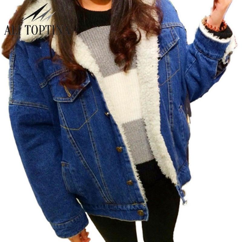 ALI TOPTINA New Autumn Winter Thick Lambs Wool Denim Jacket Female Korean Slim Plus Cott ...