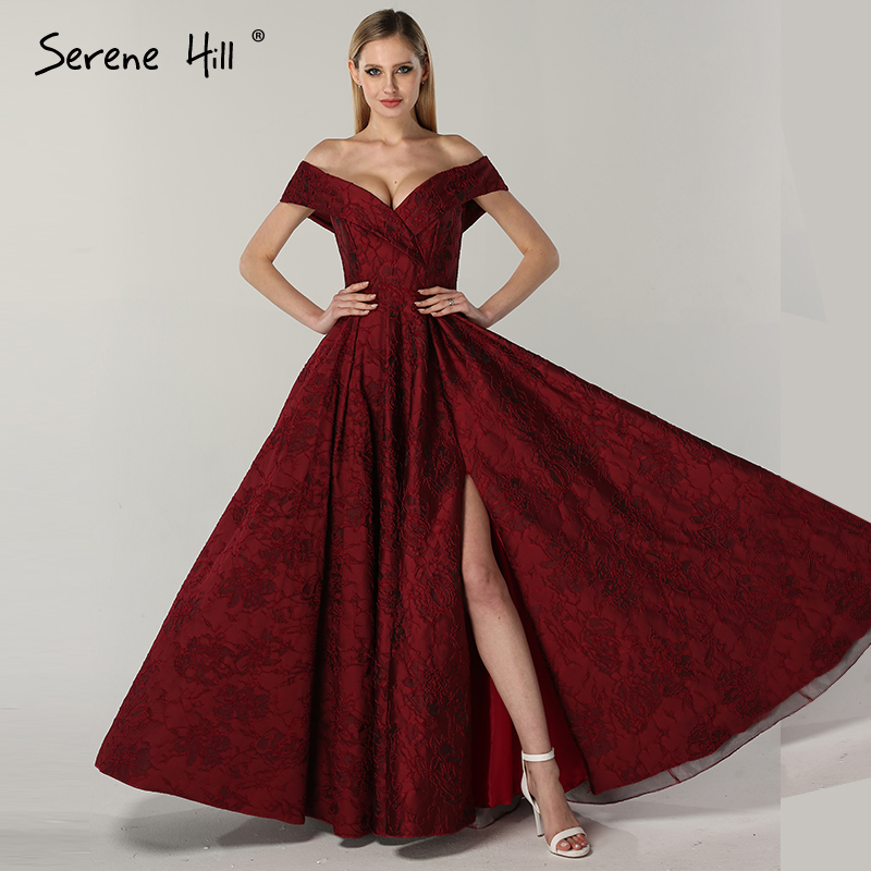 2019 Newest Designer Long Red Gowns Off Shoulder Sexy Fashion Formal Evening Gowns Serene Hill LA6484 gown