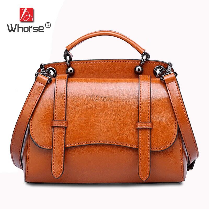 [WHORSE] Brand Luxury Vintage Genuine Leather Handbag Women Messenger Bags Handbags Cowhide Casual Tote Crossbody Bag W08610