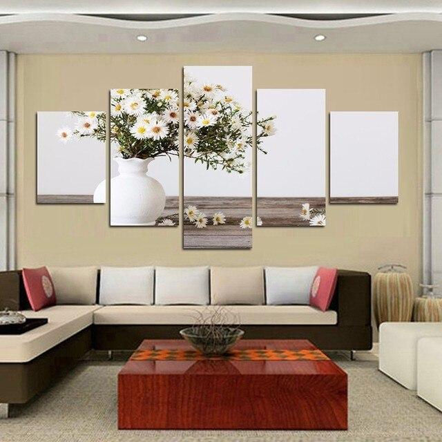 € 15.01 |5 Panneaux Jolie Daisy Dans La Vase Affiches HD Imprimé peinture  Toile Moderne Blanc Marguerite Salon Décoration Mur Art photos dans ...