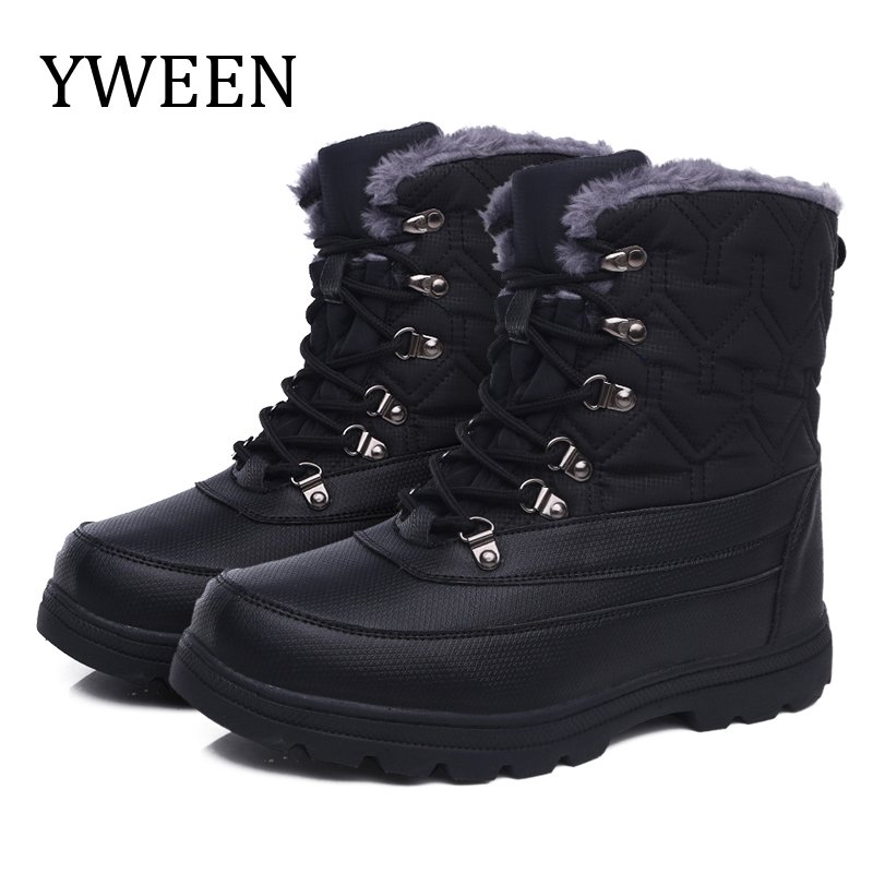 YWEEN Men's Shoes Solid Color Men Winter Boots Warm Plush Lace Up 2019 New Design Style PU Upper Free Ship Outdoor Boots For Men