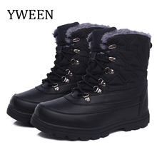 YWEEN Mens shoes Solid Color Men winter boots warm plush lace up 2019 new design style PU upper free ship outdoor for men