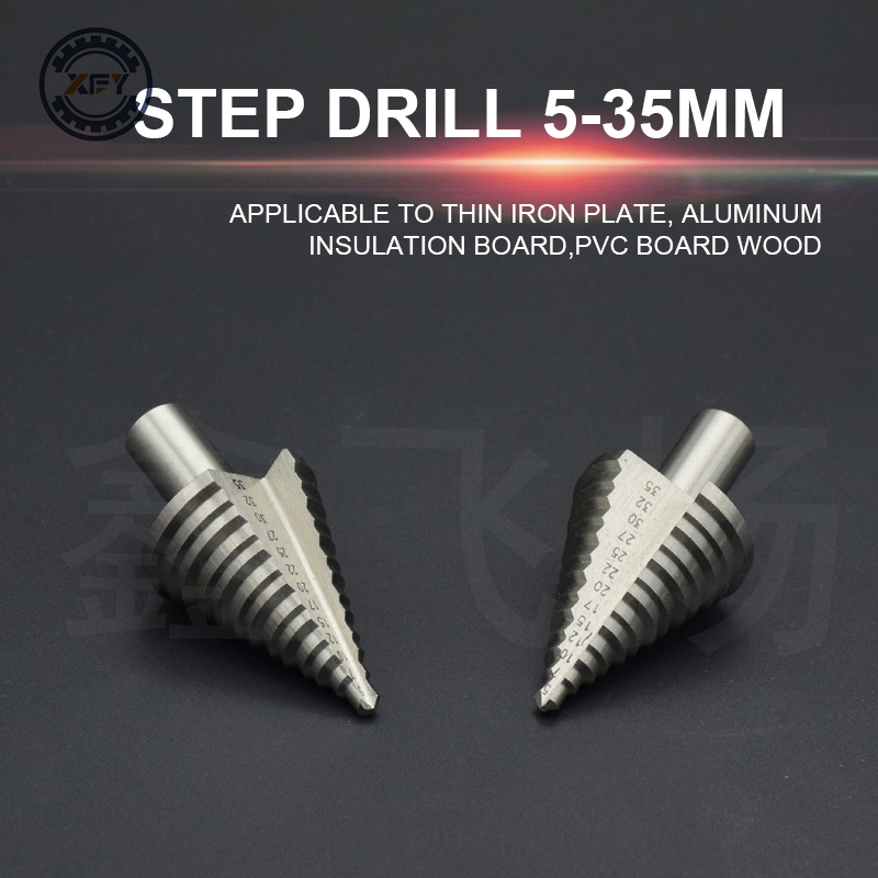 1Pcs Step Drills Taper Power Tools 3-35mm Step Drill Bit Metal HSS Steel Cone Step Drill Sharpening Hole Countersink Tools 4 20mm hex drills taper power tools step drill bit metal hss steel cone step drill sharpening hole countersink tools bit