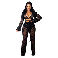 Party Club Wear Sexy Sequin Two Piece Set Outfits Women See Through Sheer Mesh Crop Top and Pants Sparkly 2 Piece Matching Set