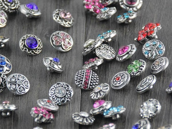 Hot 50pcs/lot Mix Styles Rhinstone 12mm Snap for Choker Jewelry Fit Leather Watch Snaps Bracelet Button silver jewelry image