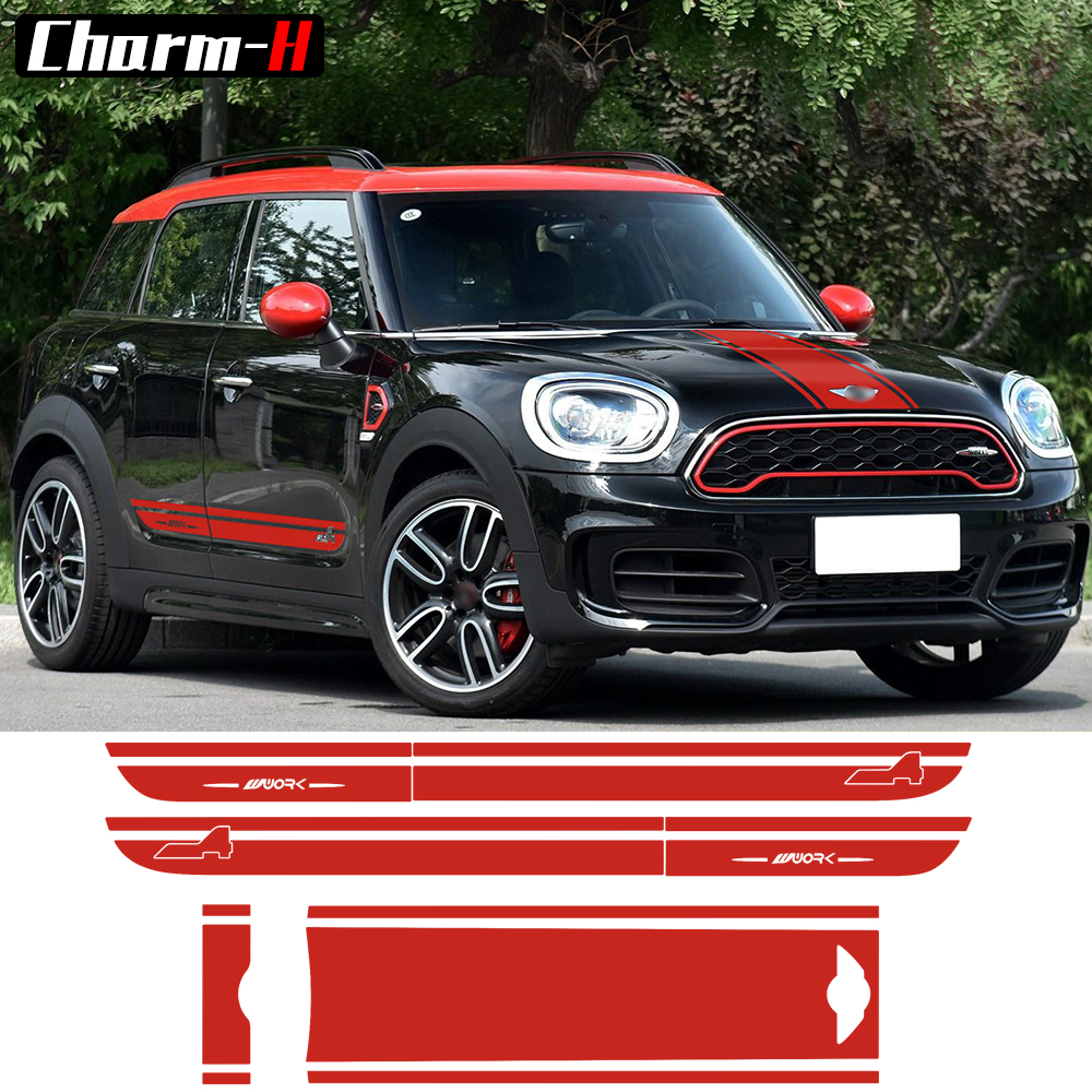Car Styling Hood Trunk/Rear Bonnet Side Stripes Decal Stickers JCW Work Graphic All4 for MINI Cooper Countryman F60 2017-Present